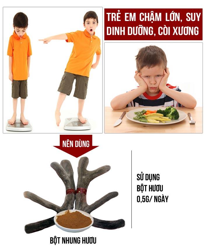 Trẻ em có dùng được nhung hươu không