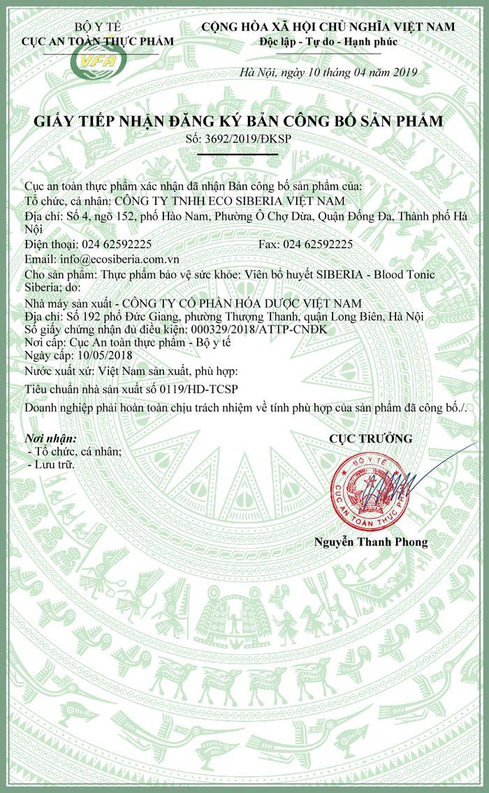 giấy chứng nận của sản phẩm viên bổ huyết nhung hươu