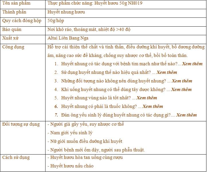 thành phần và công dụng của huyết huowu Nh019