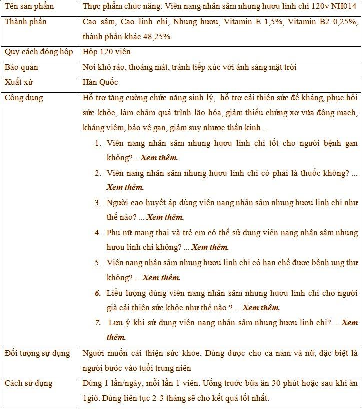 Thành phần và công dụng của viên nang nhân sâm nhung huou linh chi 120v Nh014